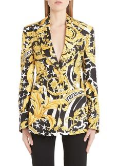Versace Barco Print Silk Blazer