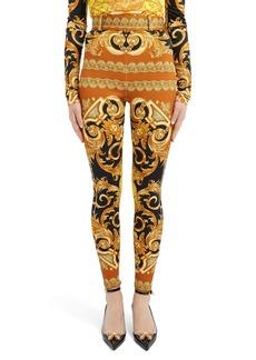 Versace Barco Print Zip Hem Belted Pants