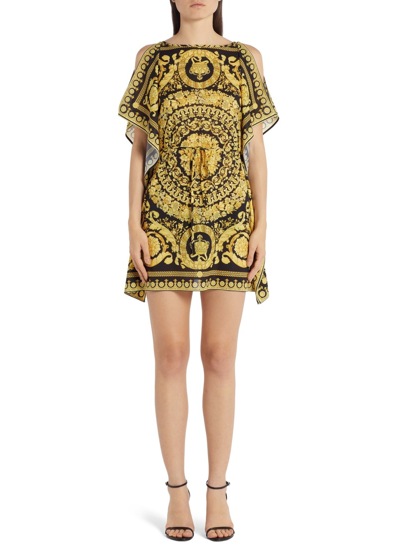 Versace Barocco '91 Print Cold Shoulder Caftan Dress