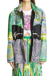 Versace Barocco Patchwork Print Oversize Hooded Jacket