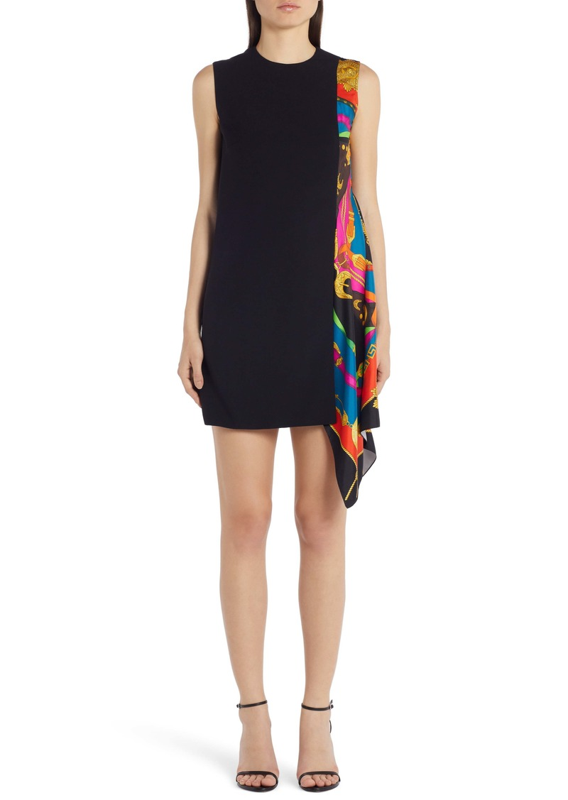 Versace Barocco Print Scarf Detail Shift Minidress