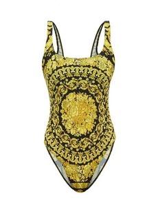 Versace Barocco-print scoop-neck swimsuit