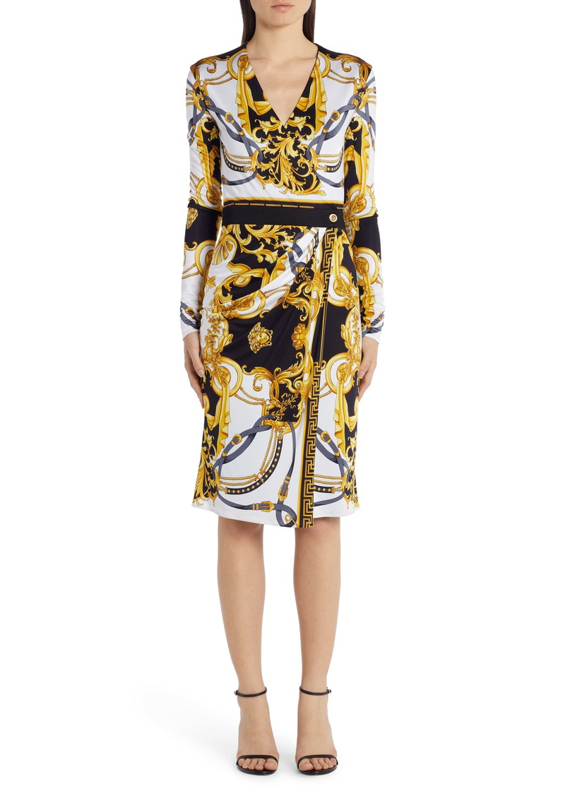 Versace Barocco Rodeo Print Long Sleeve Faux Wrap Dress