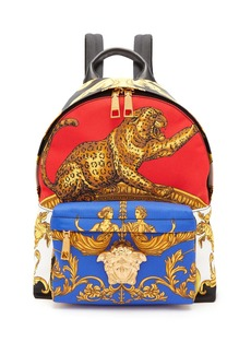 Versace Baroque and leopard-print satin backpack