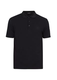 Versace Baroque-collar cotton polo shirt