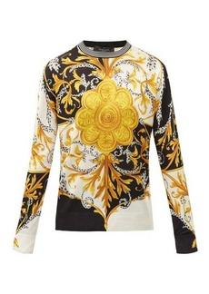 Versace Baroque-jacquard silk sweater