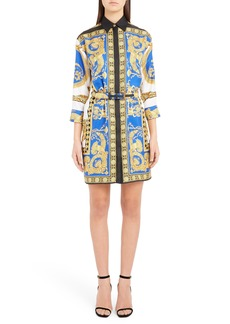 Versace Baroque Leopard Print Belted Silk Shirtdress