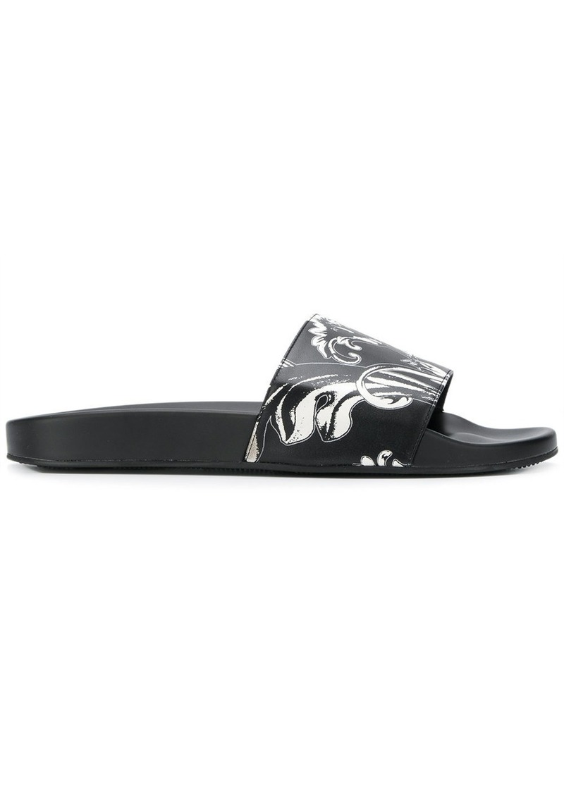 c4c66702de5646 Versace Versace Baroque pool slides - Black