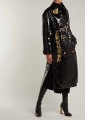Versace Baroque print-lined crocodile-effect coat