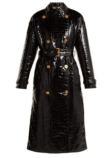 Versace Baroque print-lined crocodile-effect coat
