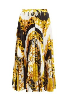 Versace Baroque-print pleated satin midi skirt