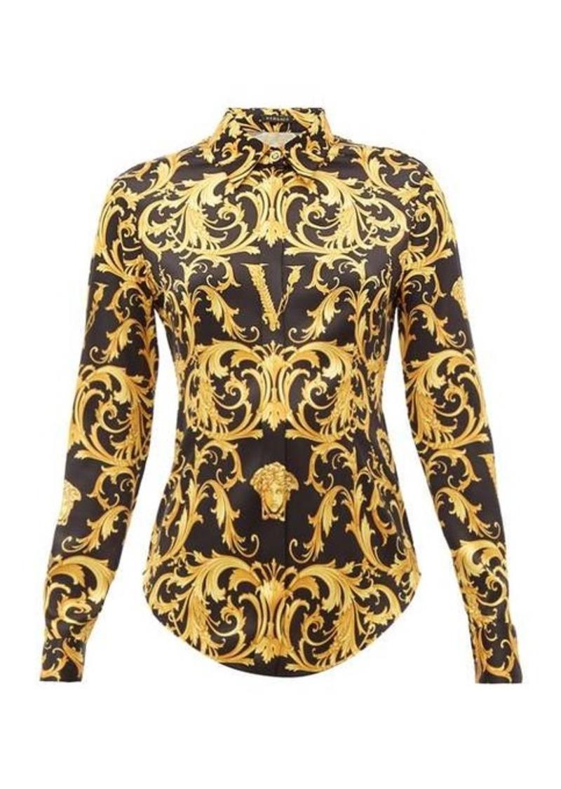 Versace Baroque-print silk-blend shirt