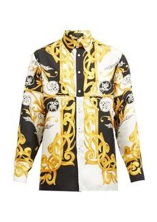 Versace Baroque-print silk-faille shirt
