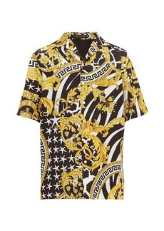 Versace Baroque-print silk-twill shirt