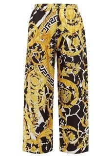 Versace Baroque-print silk-twill trousers