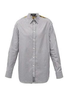 Versace Baroque-print striped cotton-poplin shirt