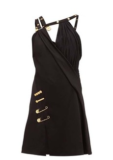 Versace Baroque safety-pin draped-satin mini dress
