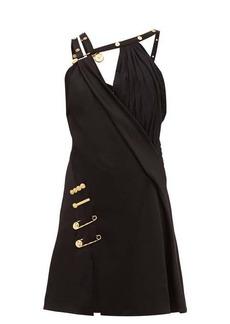 Versace Baroque safety-pin draped-satin mini dress