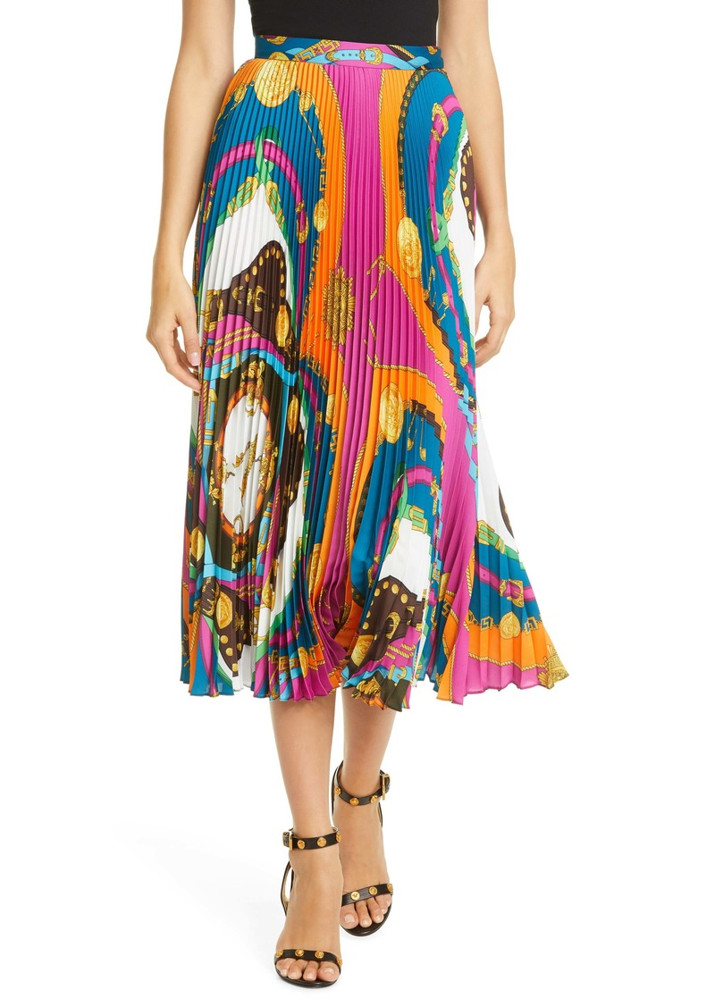 Versace Belt Print Pleated Skirt