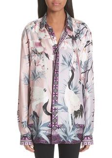 Versace Bird Print Silk Blouse
