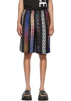 Versace Black Silk Greca Neon Shorts