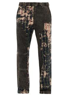 Versace Bleached-patchwork cotton straight-leg jeans