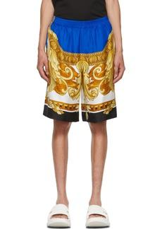 Versace Blue Silk Medusa Renaissance Shorts