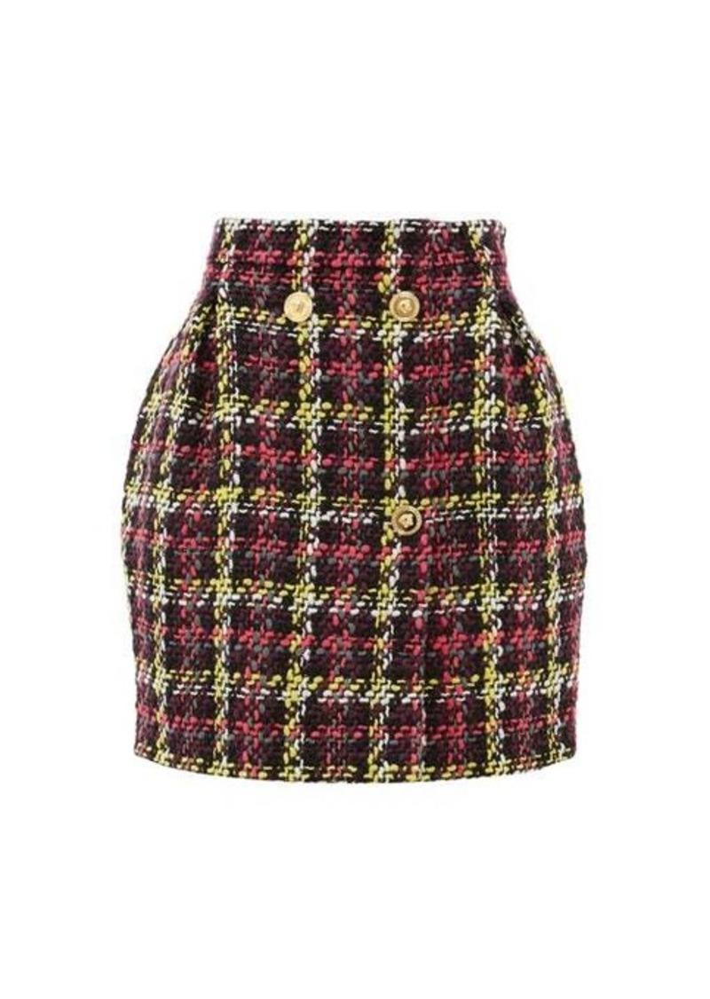 Versace Bouclé wool-blend mini skirt
