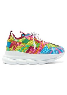 Versace Chain Reaction Baroque-print leather trainers