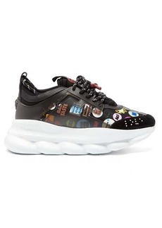 Versace Chain Reaction slogan-print neoprene trainers
