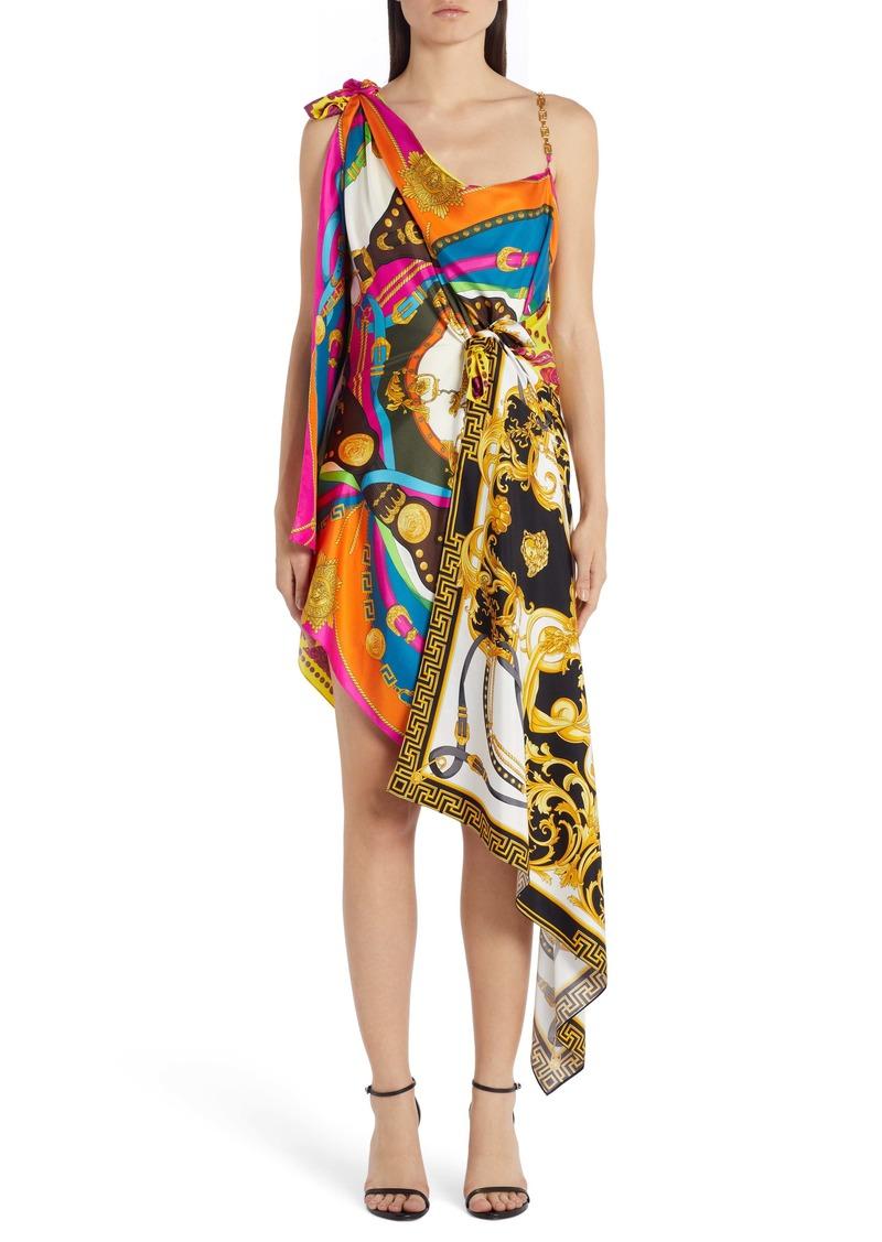 Versace Chain Strap Mixed Print Dress