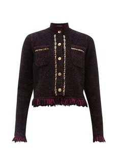 Versace Chain-trimmed fringed tweed jacket
