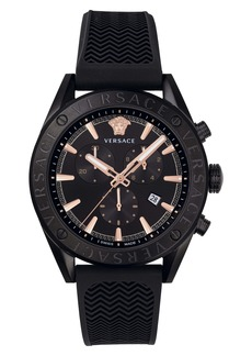 Versace Chrono Silicone Strap Watch, 44mm