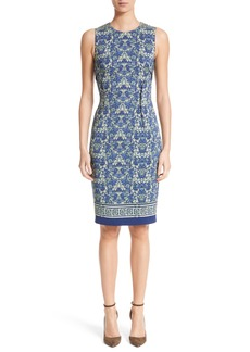 Versace Collection Acanthus Print Sheath Dress