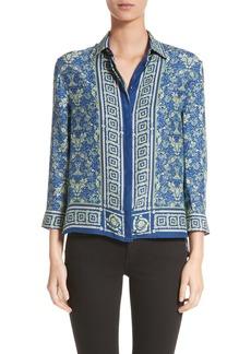 Versace Collection Acanthus Print Silk Blouse