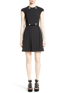 Versace Collection Button Detail Pleated Dress