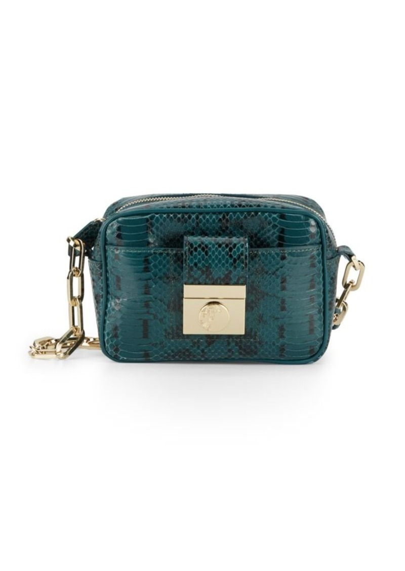 Versace Versace Collection Chain Detailed-Embossed Leather Crossbody ... b0bf6a3c661a1