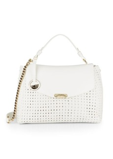 Versace Collection Chain Detailed Woven Leather Satchel