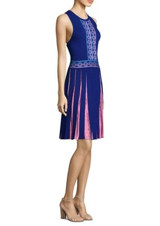 Contrast Pleated A-Line Dress