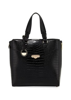 Versace Collection Croc-Embossed Leather Tote Bag