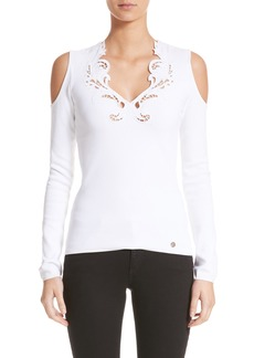 Versace Collection Cutwork Cold Shoulder Top