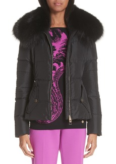 Versace Collection Down Puffer Jacket with Removable Genuine Fox Fur Collar