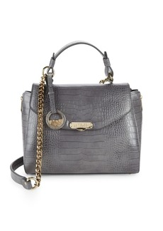 Versace Collection Embossed Leather Satchel Bag