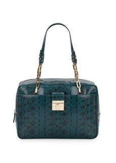 Versace Collection Embossed Leather Shoulder Bag