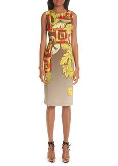 Versace Collection Geometric Scroll Print Sheath Dress