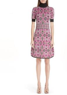 Versace Collection Jacquard Knit Turtleneck Dress