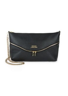 Versace Leather Zip-Front Crossbody Bag