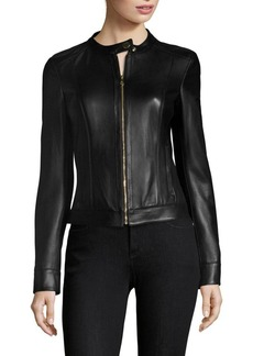 Versace Leather Zip-Front Jacket