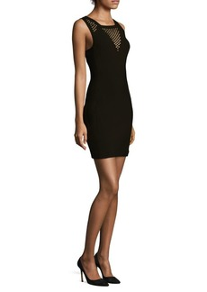 Mesh & Crystal Fitted Mini Dress