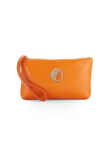 Versace Collection Pebbled Leather Wristlet